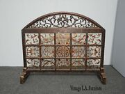 Vintage Spanish Style Wood And Painted Glass Fireplace Screen W Scrolls