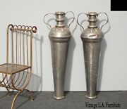 Pair Of Vintage Spanish Style Tall Rustic Silver Vases Urns  Room Decor