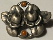 Evald Nielsen Silver Sterling Pin Coral Gorgeous Antique Collectible