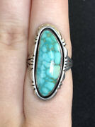 Sterling Silver Turqouise Navajo Lonnie Willie Ring Size 8 8.25g