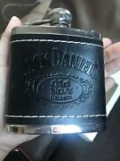 Jack Daniels Old No 7 Stainless And Leather Hip Flask New With Box 2009 5oz
