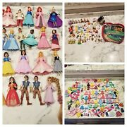 Huge Lot Polly Pocket Dolls And Clothes Rubber All Disney Princess Over 300 Pcs