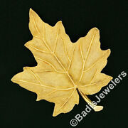 Vintage And Co 18k Yellow Gold Hand Etched Realistic Maple Leaf Pin Brooch