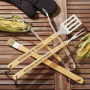 Personalized 4pc Bbq Utensil Set W/ 18 Spatula And Fork That You Can Personalize