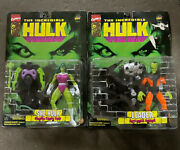 Lot Of 2 - 1996 Toy Biz The Incredible Hulk Leader And She-hulk Armor Figures