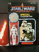 Star Wars Reproduction Vintage Potf Stormtrooper Carded Figure With Coin Unpunch