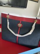 Rajah Tiger X-large Tote Maxi Blue Suede Red Leather W/clutch Set