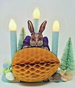 Kitschy Easter Bunny Candolier/window Candle/candelabra W/antique Beistle Bunny