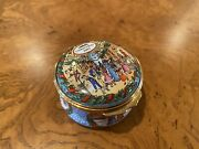 Halcyon Days Enamel Box - Christmas 1997 - Mall, Stores, Red, Green, Brown, Gold