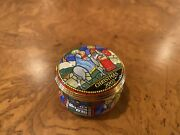 Halcyon Days Enamel Box - Christmas 2003 - Mary And Joseph, Red, Blue, Green