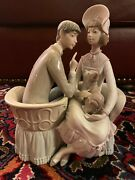 Rare Lladro Figurine 4830 You And Me, Man And Woman Sitting With A Dog