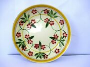 Antique Spongeware Plate Dish English Pottery Spatterware Floral Collectiblef64