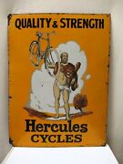 Antique Hercules Cycles Sign Board Porcelain Enamel By And039ohromoand039 Wolverhampton