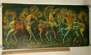 Vintage Poster Print Of Green Horses On Carousel Classic Abstract Fine Art