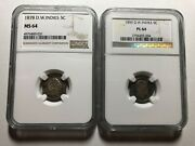 Danish West Indies 1859 And 1878 Pair 5 Cents Ngc Pl 64 And Ms 64 Rare