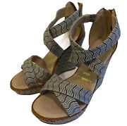Missoni Wedges Heels Size 6 Leather And Canvas Tan Black White Print Strap Sandals