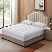 White Duck Down Feather Mattress Topper 100 Cotton Cover Deep Pocket Fitted New