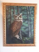 Owl Painting By Baldwin Original Oil On Canvas 2001 Gold Wood Frame