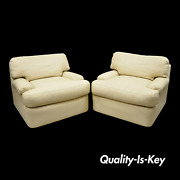 Directional Milo Baughman Swivel Beige Leather Club Lounge Arm Chairs - A Pair