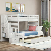 Twin Over Twin/full Bunk Bed With Twin Size Trundle Us Stock