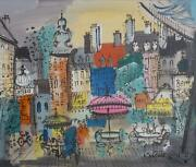 Charles Cobelle Parisian Plaza 3 Acrylic On Canvas Signed Lower Right