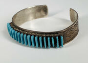 Old Pawn Zuni R.r Lastyono Sterling Silver Turquoise Needlepoint Cuff Bracelet