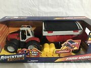 Farm Tractor With Trailer-light And Sound Truck Toy Set-hay Bales Included - New