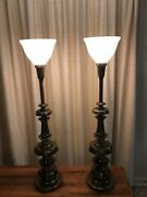 A Pair Of Stiffel Brass Table Lamps 37andrdquotall And 15lbs Each Excellent Condition