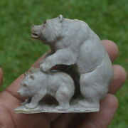 Bears Group Carving 60mm Height T266 In Moose Antler Hand Carved
