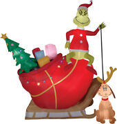 Huge 12 Ft Christmas Santa  And Max Sled Sleigh Airblown Inflatable