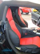 Premium Leatherette Tailored Slip-on Red Seat Covers For Chevy Corvette C6
