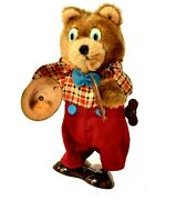 Vintage Wind-up Collectable Teddy Bear Plaid Shirt Bow Tie With Cymbals Toy D607