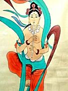 Vintage Hand Painted On Silk Japanese Painting Laidy Playing Musik Plastic Frame
