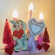 Pink Valentineand039s Day Candolier/window Candle W/vintage Clown Die-cut And Halos