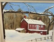 Vintage Original Acrylic Painting Artist Signed Winter Snow Red Barn Farm 70andrsquos
