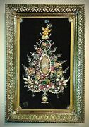 Christmas Tree Framed Jewelry One Of A Kind Art Unique Gift Vintage Home Decor