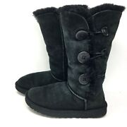 Ugg Bailey Button Triplet 1873 Womenand039s Black Winter Snow Boots Us Size 7 M