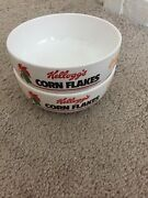 2 X Kelloggs Corn Flakes Cereal Breakfast Bowls 1991 Golden Flakes Of Corn