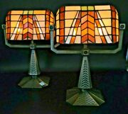 Set Of 2 Partylite Artisan Style Stained Glass Tealight Banker Desk Lamp
