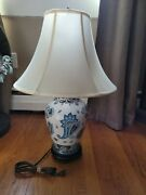 Vera Bradley Extremely Rare Retired Java Blue Porcelain And Wood Lamp And Shade 27