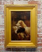 19th Century Portrait Of Two Hunting Dogs In Action - Oil Painting