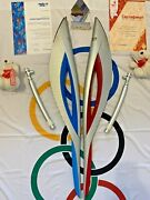 2x Sochi Torch Olympic Games 2014 With Gas Canisters, Diplomas, Stadium Flag