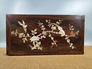 15.3 Antique Old China Huanghuali Wood Shell Inlay Flower Bird Jewelry Box