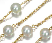 Auth Mikimoto Necklace Akoya Pearls Station 18k 750 Yellow Gold