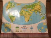 Crams Physical Political Map Of The World Pull Down Roll Up Large