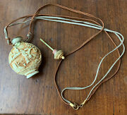 """Chinese Off-white Carved Cinnabar Snuff Bottle Mark/signed On Base Necklace 24"""""""