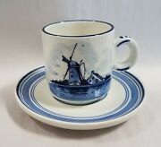 Delfts Blue Handgemaakt Pottery Small Cup And Saucer - Holland