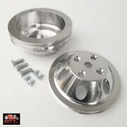 Small Block Chevy Polished Aluminum Water And Crank Pulleys 1 2 Groove Lwp 350 400