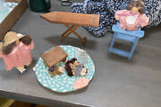 Lizzie High Wooden Doll Lot Vintage Dolls And Accessories Ironing Board