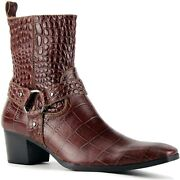 Osstone Men Chelsea Ankle Boots Leather Crocodile Prints Western Cowboy Boots Wi